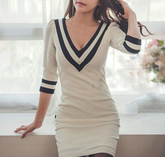 dress v-neck white stripes preppy sweater dress