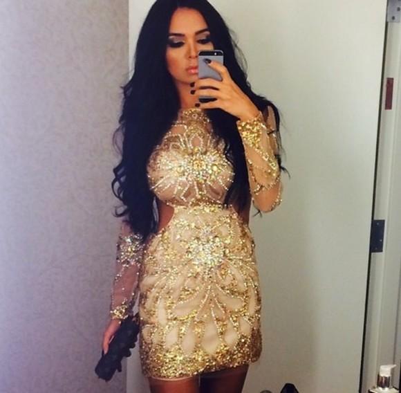 gold bodycon dress sequin dress gold sequins gold dress cut-out dress