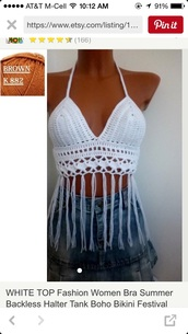 top,crochet,white,boho,fringes,festival