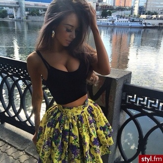 skirt flowers floral yellow skater skater skirt top jewels dress tank top floral skirt crop tops fashion girly model t-shirt summer outfits yellow floral cute cute skirt outfit floral pattern pattern lovely