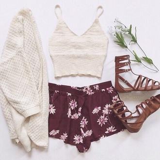 shirt wool beige crop tops