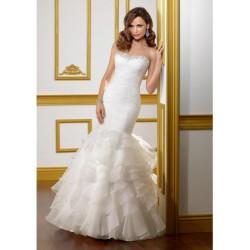 Strapless Mermaid Crystal Beading Chapel Train Organza Wedding Gownes Wedding Gowns
