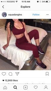 pants,cute,sexy,fashion,teenagers,jordans,baddies,burgundy,matching set,maroon shirt,instagram,air jordan 11