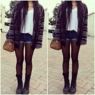 top tights boots shorts denim white blue cardigan bag sweater jewels shoes denim shorts necklace jacket seater black tumbrl outfits tumblr fall outfits fall sweater cute nuetral combat boots hipster