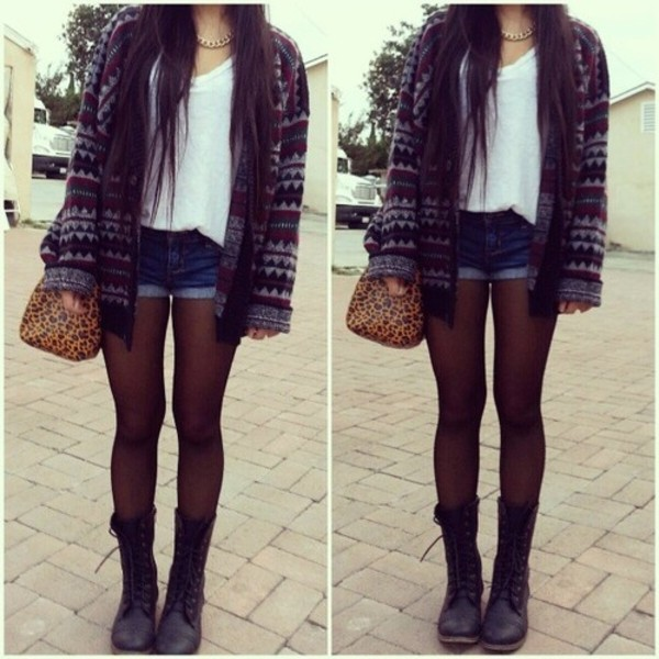 top tights boots shorts denim white blue cardigan bag sweater jewels shoes denim shorts necklace