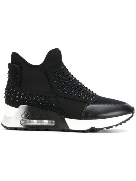 studded women sneakers platform sneakers black shoes
