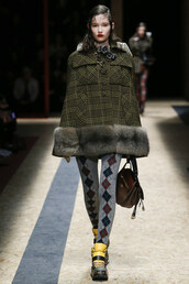 coat,poncho,fur,runway,milan fashion week 2016,boots,purse,plaid,olive green,fall outfits,fashion week 2016,prada