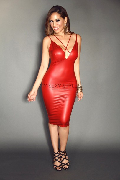 Dress: red dress, leather dress, sexy dress, party dress - Wheretoget