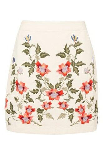 skirt embroidered floral cream