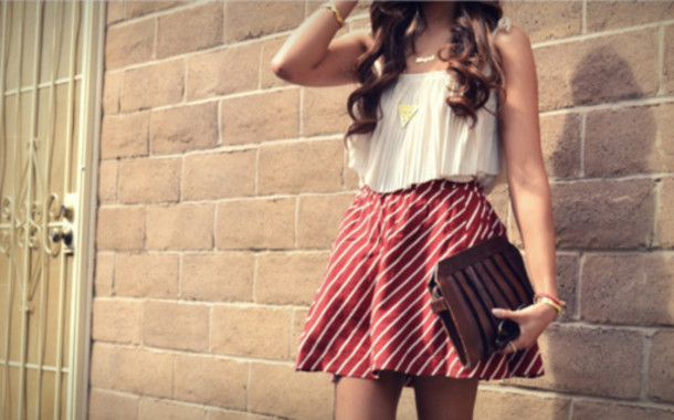 skirt fashion top withe stripes summer bag tank top jewels
