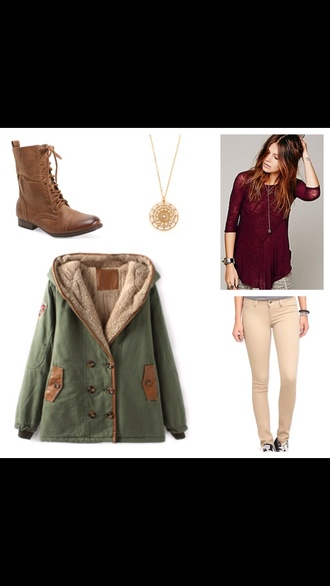 coat combat boots brown combat boots army green jacket olive green gold necklace khaki pants red t-shirt pants shoes shirt jewels