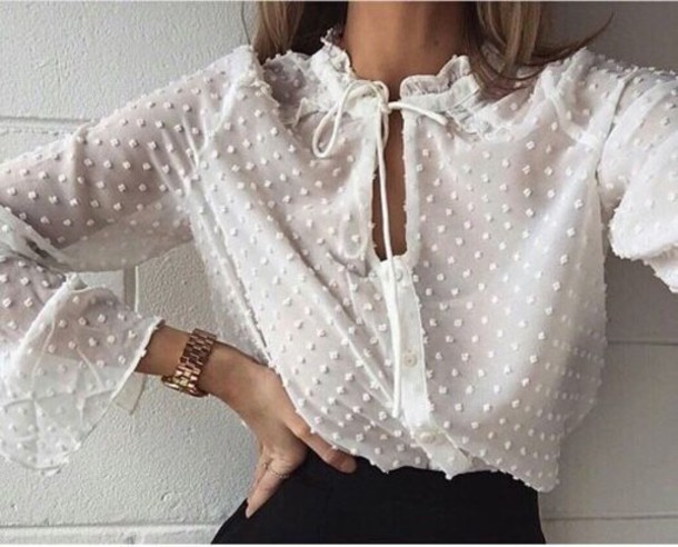 blouse white polka dots style fashion white blouse lace tank top white top sheer blouse long sleeves white shirt bow