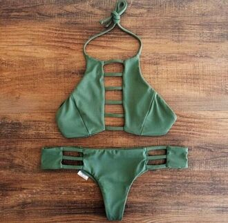 swimwear bikini separates cut-out olive green green khaki summer