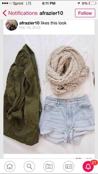 blouse shorts scarf jacket