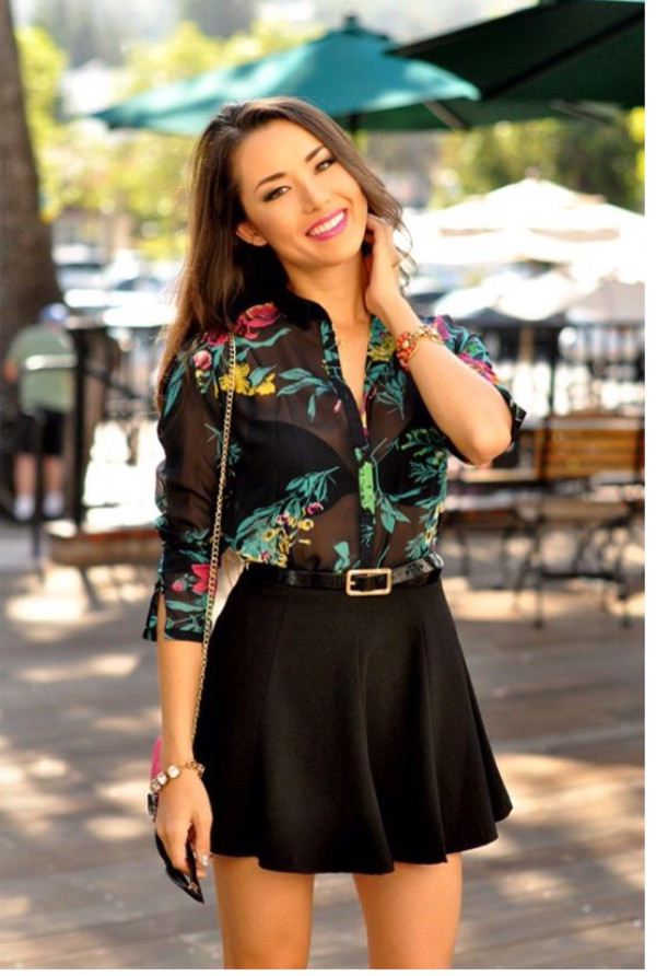 blouse chiffon blouse black multicolor floral top