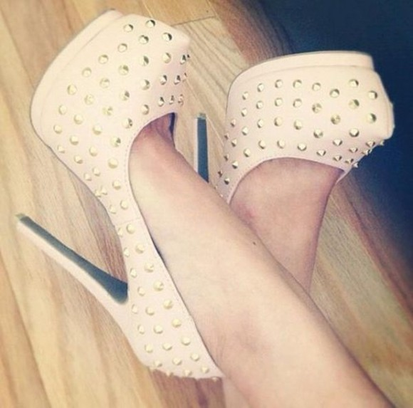 shoes studs sweet pastel pink gorgeous beautiful cute high heels pumps high heels suede beige beige shoes