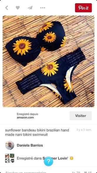 swimwear flowers yellow black sunflower bikini