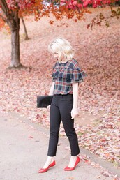 poor little it girl,blogger,shirt,bag,shoes,ruffled top,clutch,black pants,flats,ballet flats,fall outfits