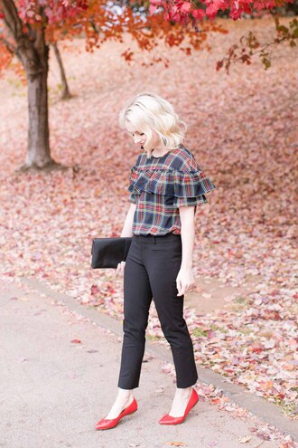 poor little it girl blogger shirt bag shoes ruffled top clutch black pants flats ballet flats fall outfits