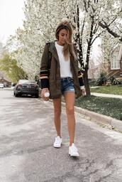 hello fashion,blogger,jacket,sweater,tank top,shorts,sunglasses,bag,shoes,army green jacket,denim shorts,spring outfits,sneakers,denim,white top