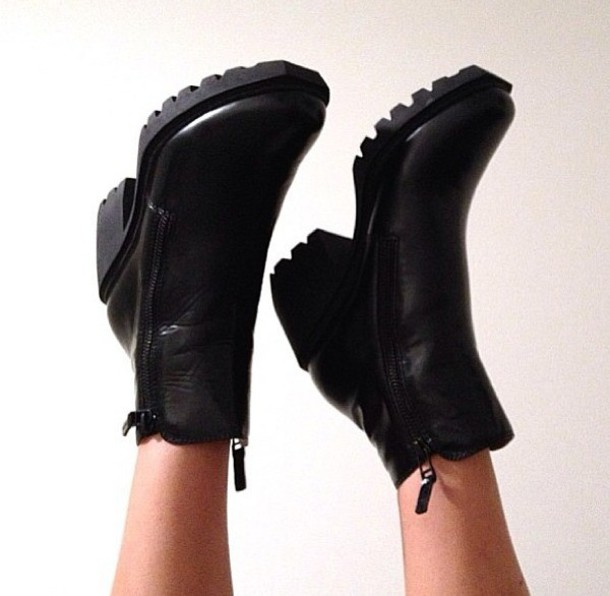 shoes boots black boots simple black boots zipper boots small heel boots