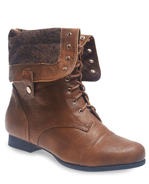 Tweed foldover combat boots
