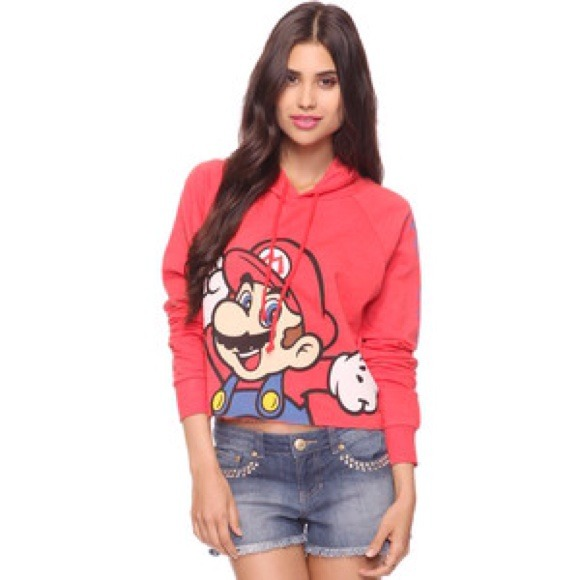 Mario Bros. cropped hoodie S from Samantha's closet on Poshmark