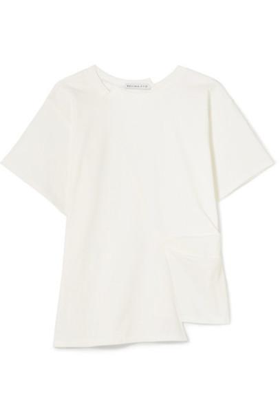 Rejina Pyo t-shirt shirt t-shirt pleated white cotton top