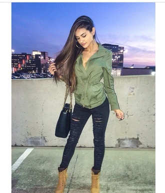 jacket sophia miacova green jacket style fashion swag jeans shoes bag jewels