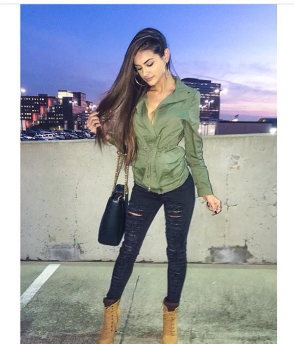 Jacket: sophia miacova, green jacket, style, fashion, swag, jeans ...