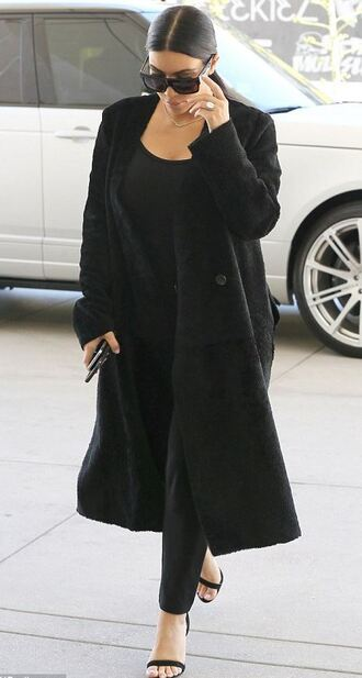 coat all black everything sandals kim kardashian pants