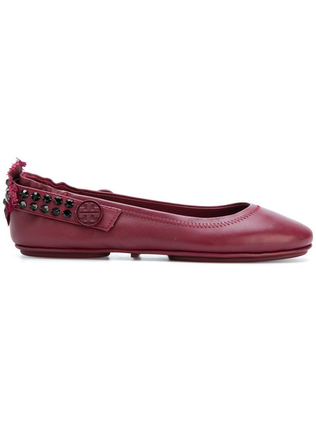 Tory Burch women embellished leather red shoes