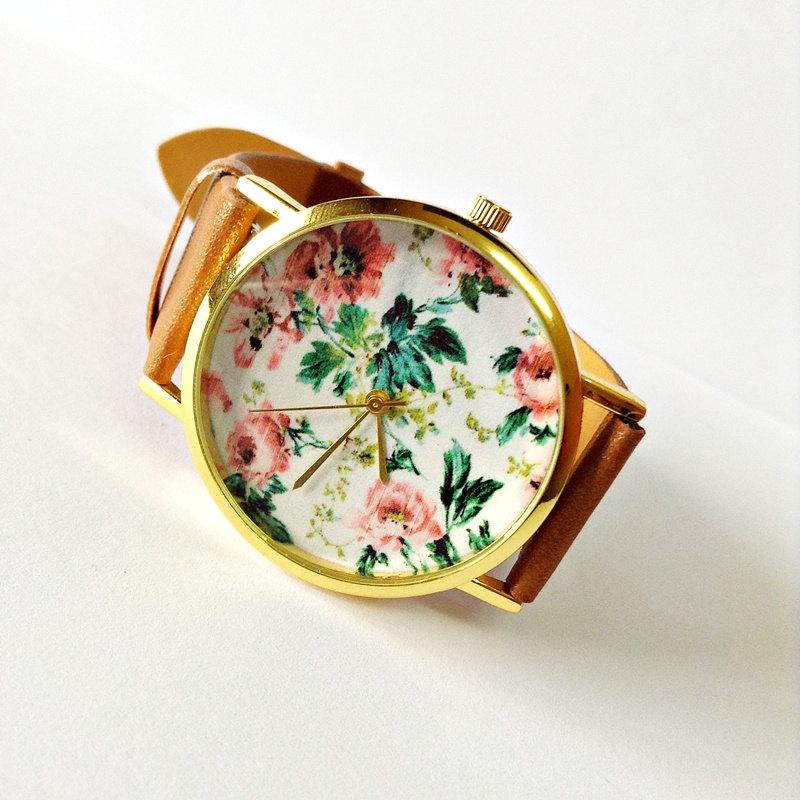 Original Freeforme Floral Watch, Vintage Style Leather Watch, Women Watches, Unisex Watch, Boyfriend Watch, Black, Tan,
