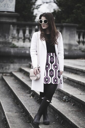 elodie in paris blogger coat skirt bag pattern wellies round sunglasses