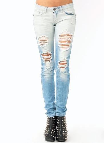 GJ | Destroyed Skinny Jeans $42.90 in LTBLUE - Jeans | GoJane.com