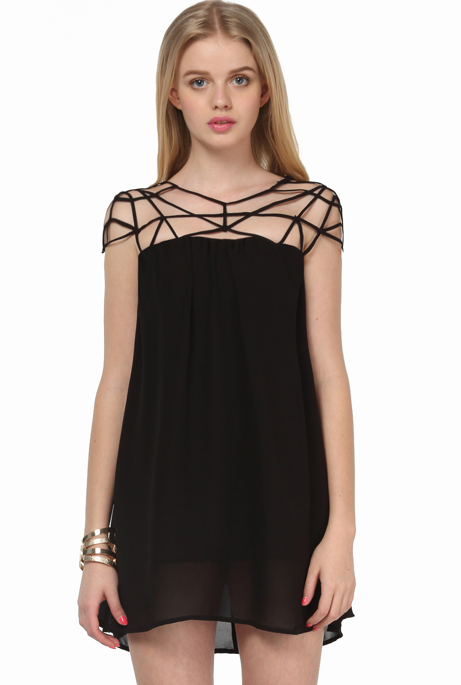 Black Girl Cut Out Shift Chiffon Mini Dress - Sheinside.com