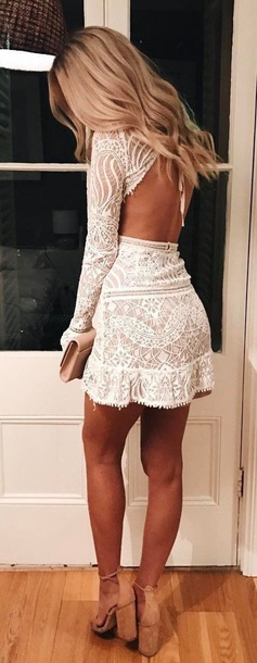 dress white long sleeve lace lace white dress lace dress long sleeve dress long sleeves prom prom dress fancy fancy dress open back open back dresses long sleeves backless pinterest