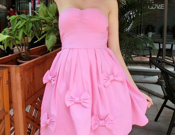 ball gown party dress girl pink dress bow dress dress with bow sweetheart