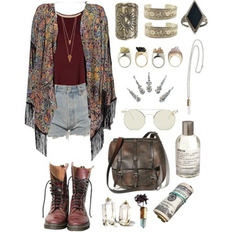 cardigan boho shorts bag shoes