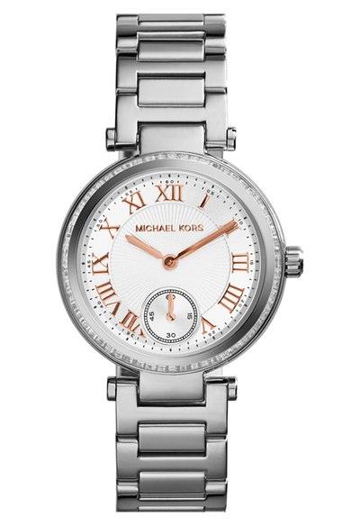 Michael Kors 'Skylar - Small' Crystal Bezel Bracelet Watch, 33mm | Nordstrom