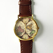 jewels,map watch,brown,leather watch,vintage style,boyfriend watch,watch