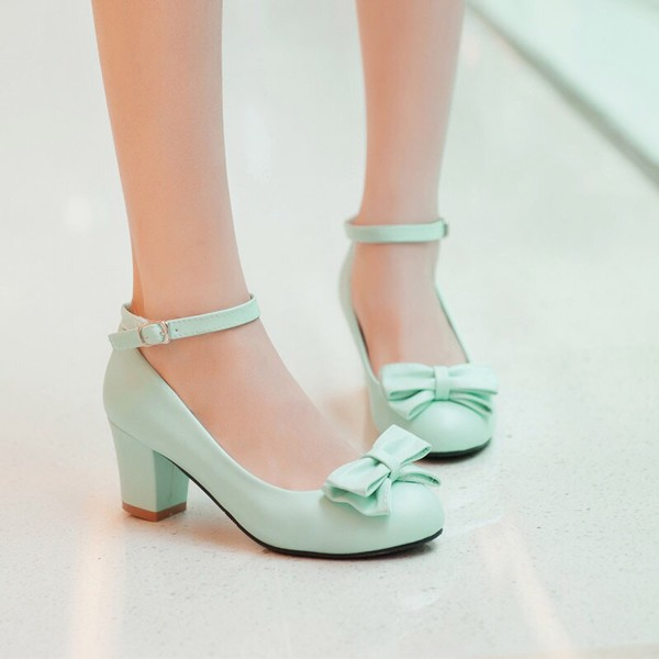 Shoes Heels Pastel Blue Green Vintage Bows Wheretoget