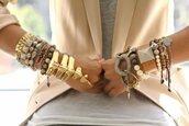 statement bracelet,jewels,gold,bracelets,gold sequins,blazer,peach,top,jacket,statement,jewelry
