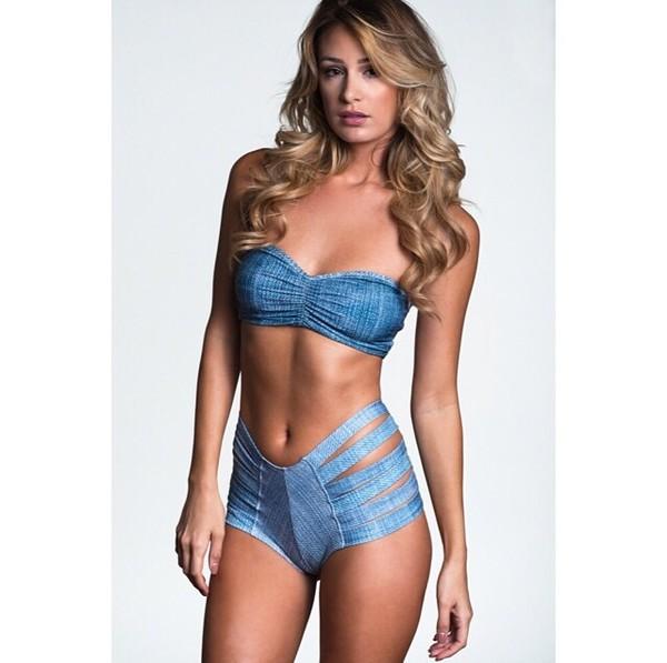 swimwear denim jeans blue swimwear bikini high waisted bikini halter top