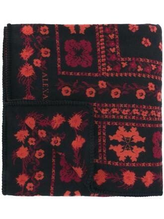 jacquard scarf floral silk wool black