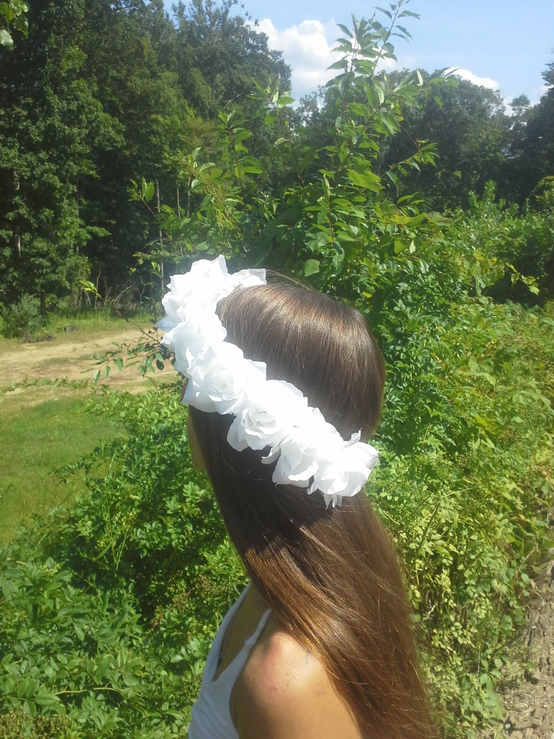 White rose, flower headband, rose crown, rose halo, festival wear, coachella, flower girl, bridesmaid, renaissance, bridal, rose headband