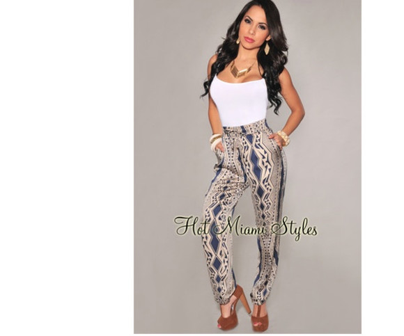 pants printed taupe silk