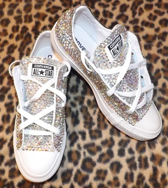 AB Swarovski Elements Sparkly Converse All Star Sneakers in White Any…