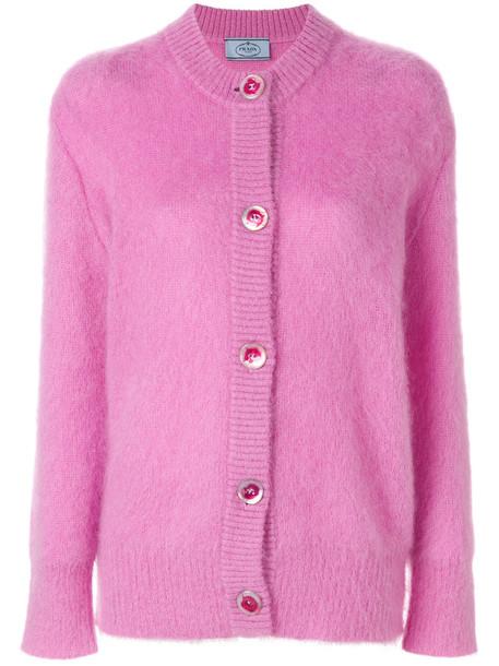 Prada cardigan cardigan oversized women fluffy mohair wool purple pink sweater