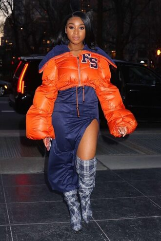 jacket orange normani kordei hamilton boots skirt slit skirt midi skirt dress navy navy dress